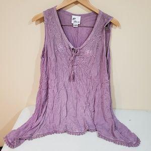 Rayon Boho Tunic Dress Purple Medium
